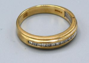 A 9ct. Gold Diamond Half Eternity Ring, 3.7 gms, ring size R
