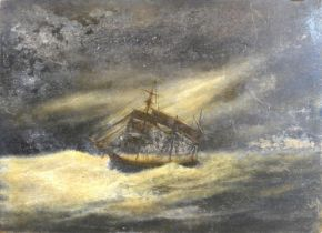 A 19th Century Oil on Tile 'Sailing Ship in a Rough Sea' 20 x 26 cms