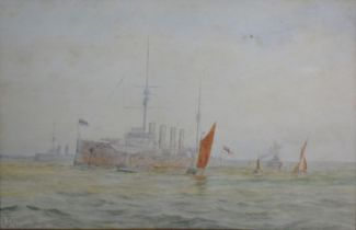 H. Capps Battleship and Sailing Vessels at Sea, watercolour, signed, 19 x 27 cms