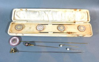 A Set of Four Early 20th Century Mother of Pearl and Paste Set Hat Pins within fitted case
