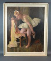 Dame Laura Knight 'Study of a Ballet Dancer' oil on canvas, signed, 60 x 48 cms