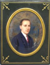 Rudolf Ipold Half Length Portrait of a Gentleman in Miniature, signed and dated 1925, 11 x 9 cms