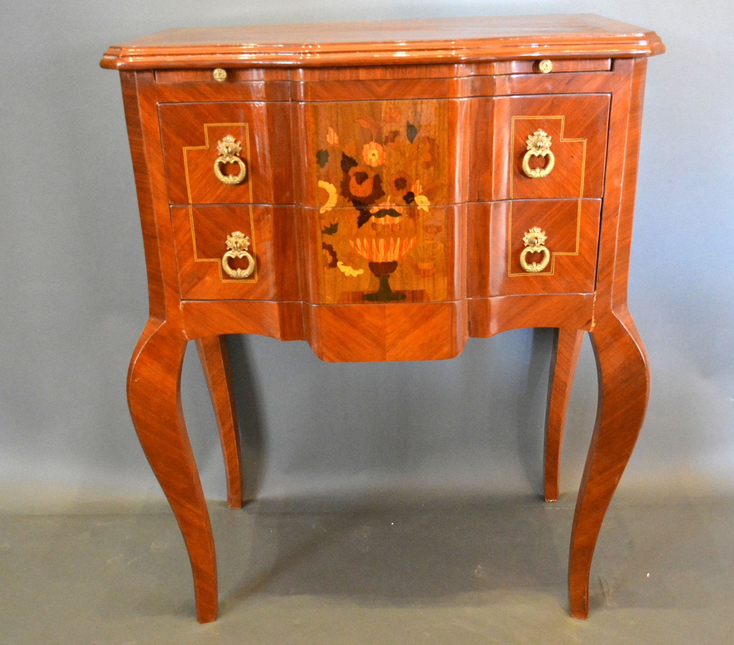 A French style chest, the inlaid shaped top above two marquetry inlaid drawers with brass drop - Image 2 of 2
