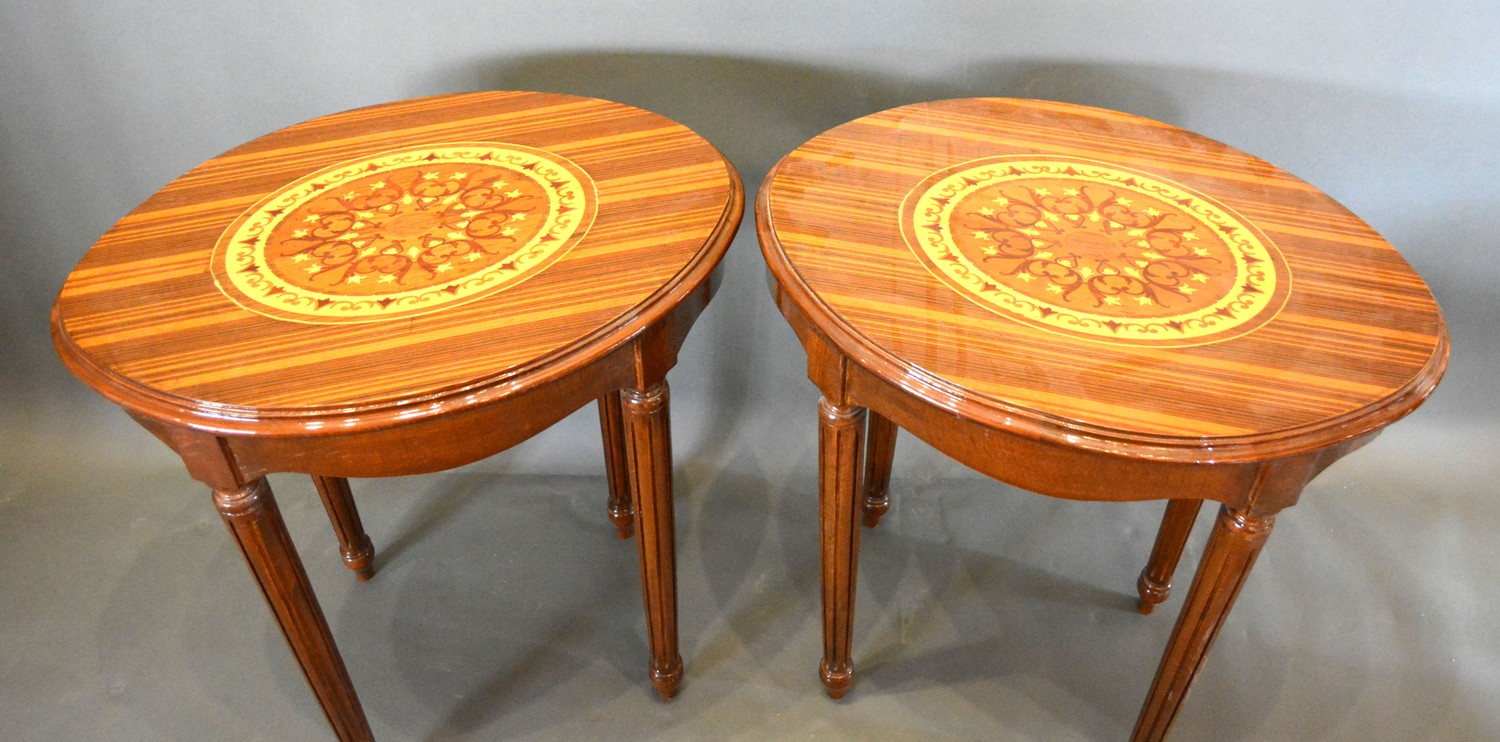 A Pair of French marquetry inlaid oval lamp tables each with an oval marquetry inlaid moulded top - Image 2 of 2