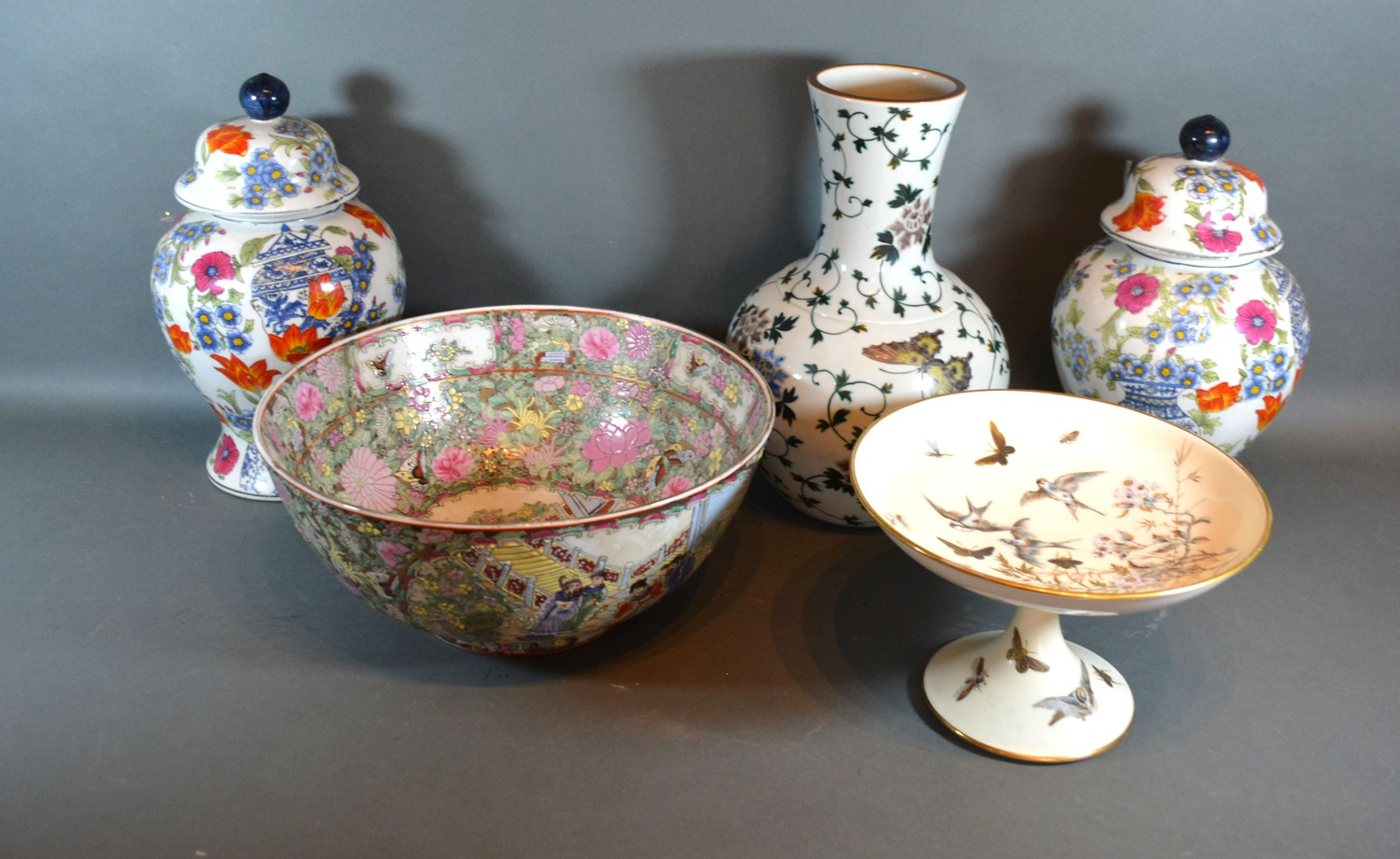 A Chinese Canton bowl, together with a Japanese vase , a pair of covered vases and a comport
