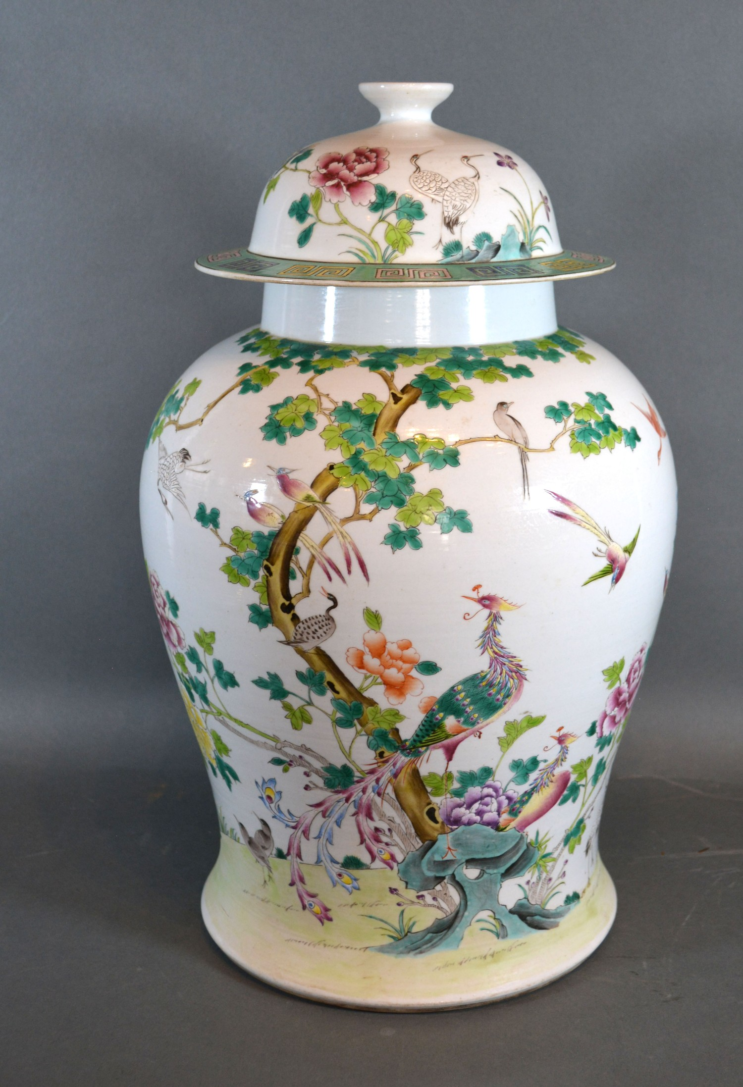 A Chinese Canton covered vase, 102cms high, six character mark to base