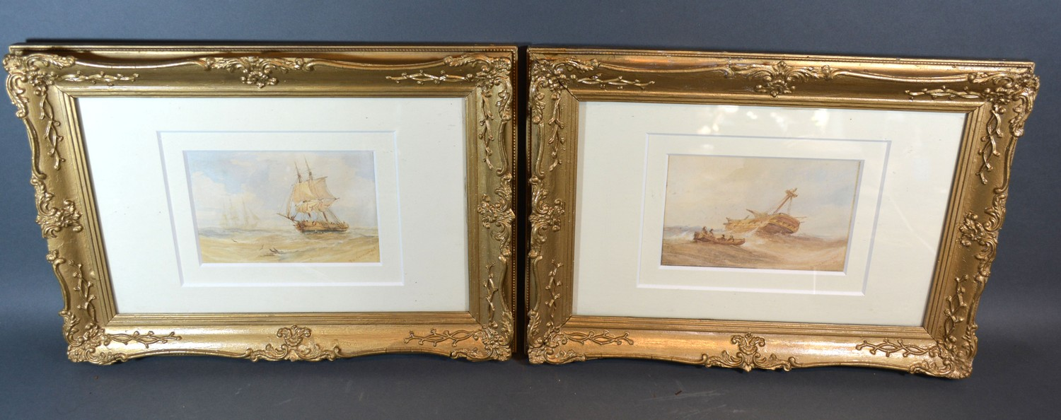 James Wilson Carmichael, ships in a rough sea and a ships hulk, a pair of watercolours, signed,
