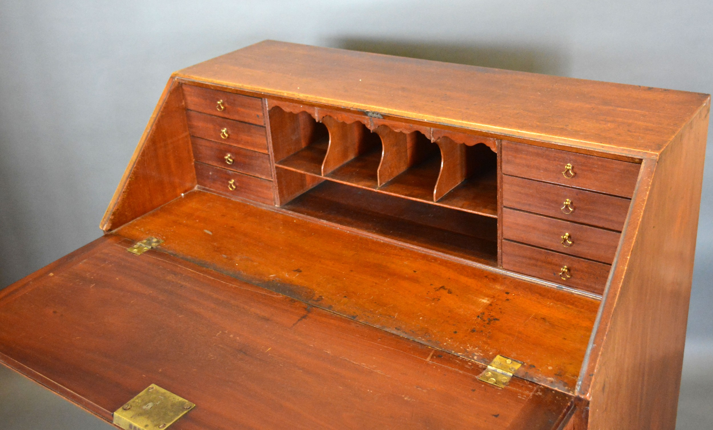 A 19th century mahogany bureau, the fall front enclosing a fitted interior above four long drawers - Image 2 of 2