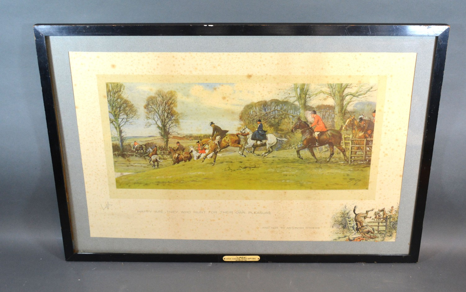 Charles Johnson Payne (Snaffles) 'Happy Are They Who Hunt For Their Own Pleasure' signed in