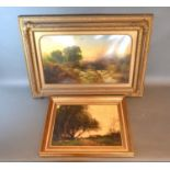 19th century English school, river scene with angler, oil on board, 29cms x 49cms, together with