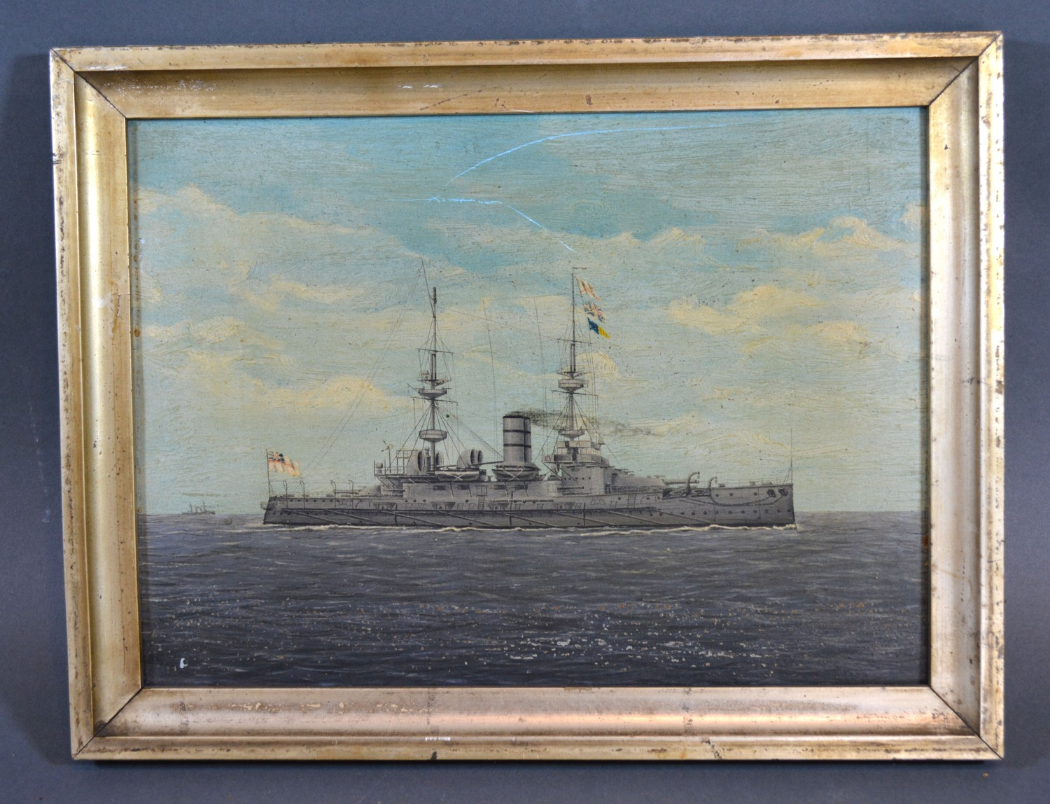 Early 20th Century English School, HMS Victorious, oil on board, 20 x 28 cms - Image 2 of 3