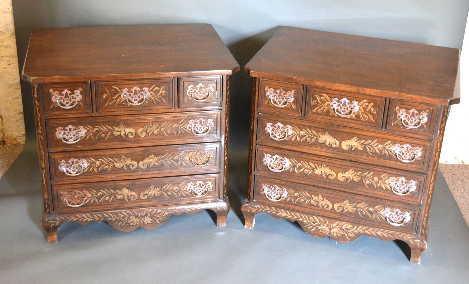 A Pair of 20th Century Painted Chests by Kathleen Spiegelman for Melvin & Bren Simon with three