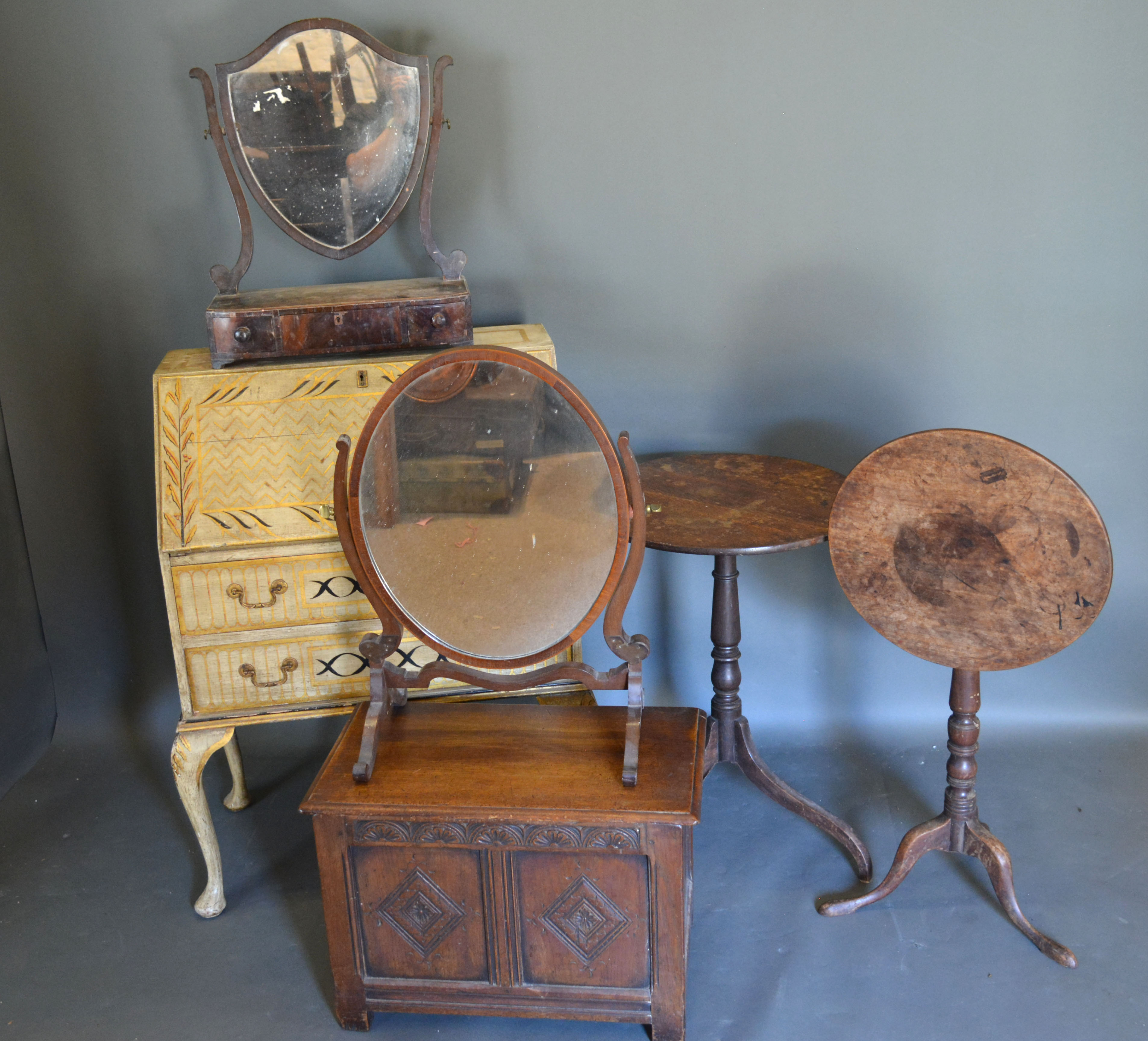 A 20th century painted bureau together with a small coffer, two dressing table mirrors and two