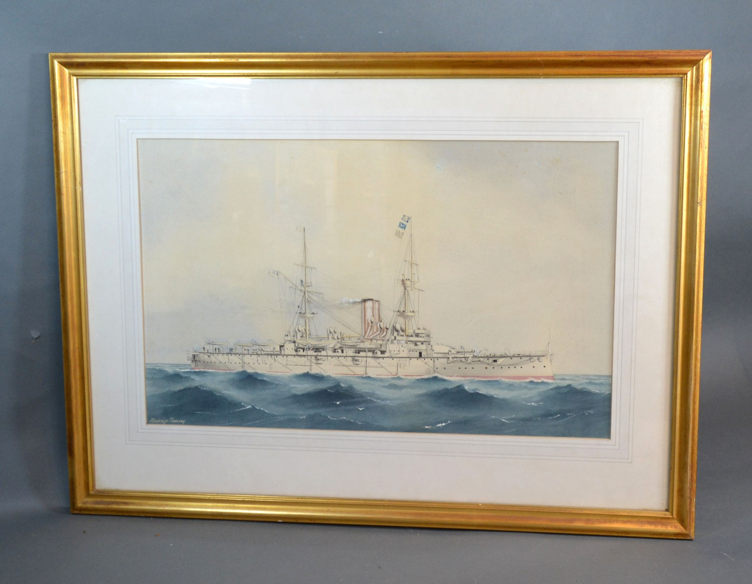 William MacKenzie Thomson Study of a Battleship at Sea watercolour, signed 30 x 48 cms - Image 2 of 3