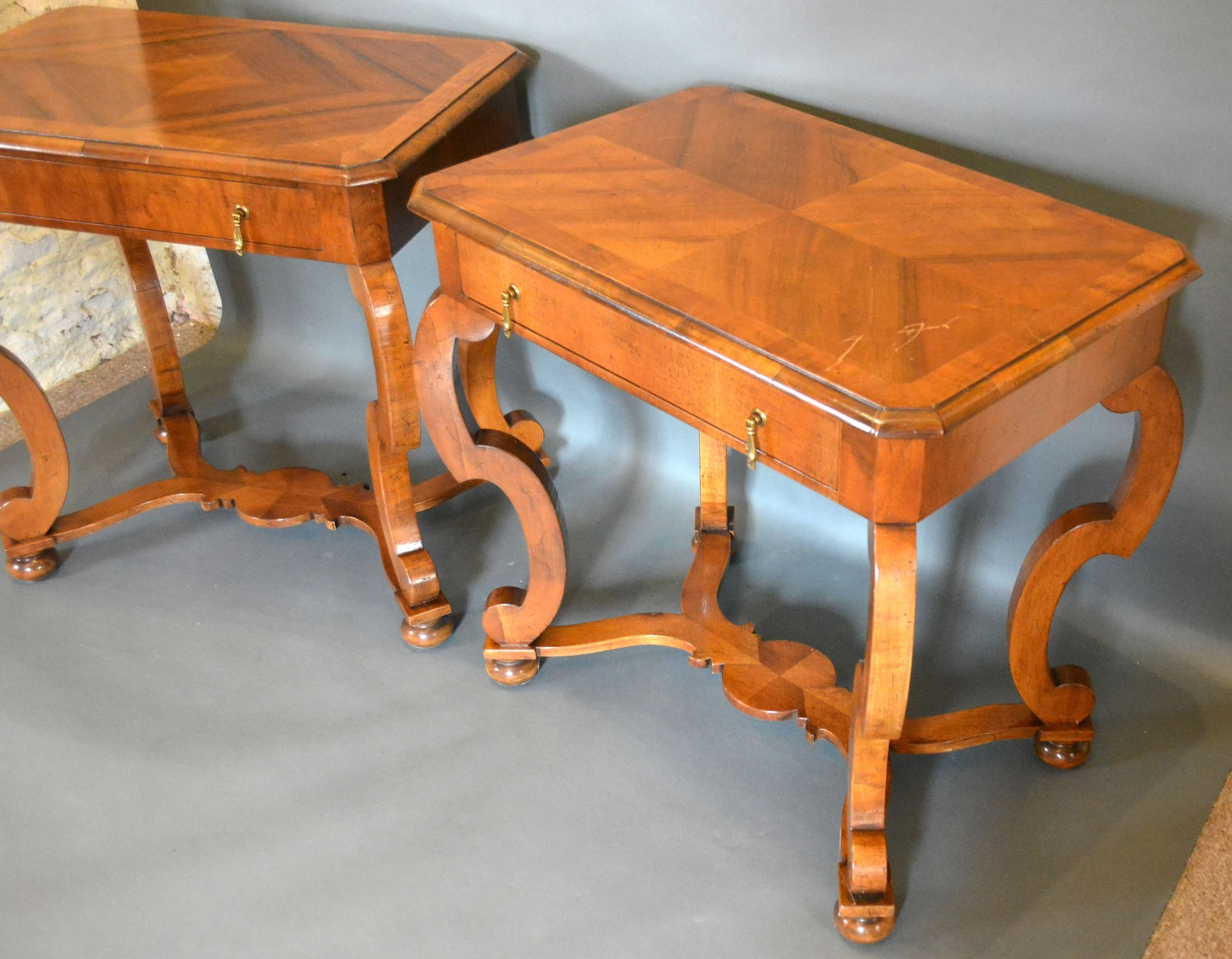 A Pair of 18th Century Style Walnut Side Tables, the moulded crossbanded tops above a frieze - Image 2 of 3
