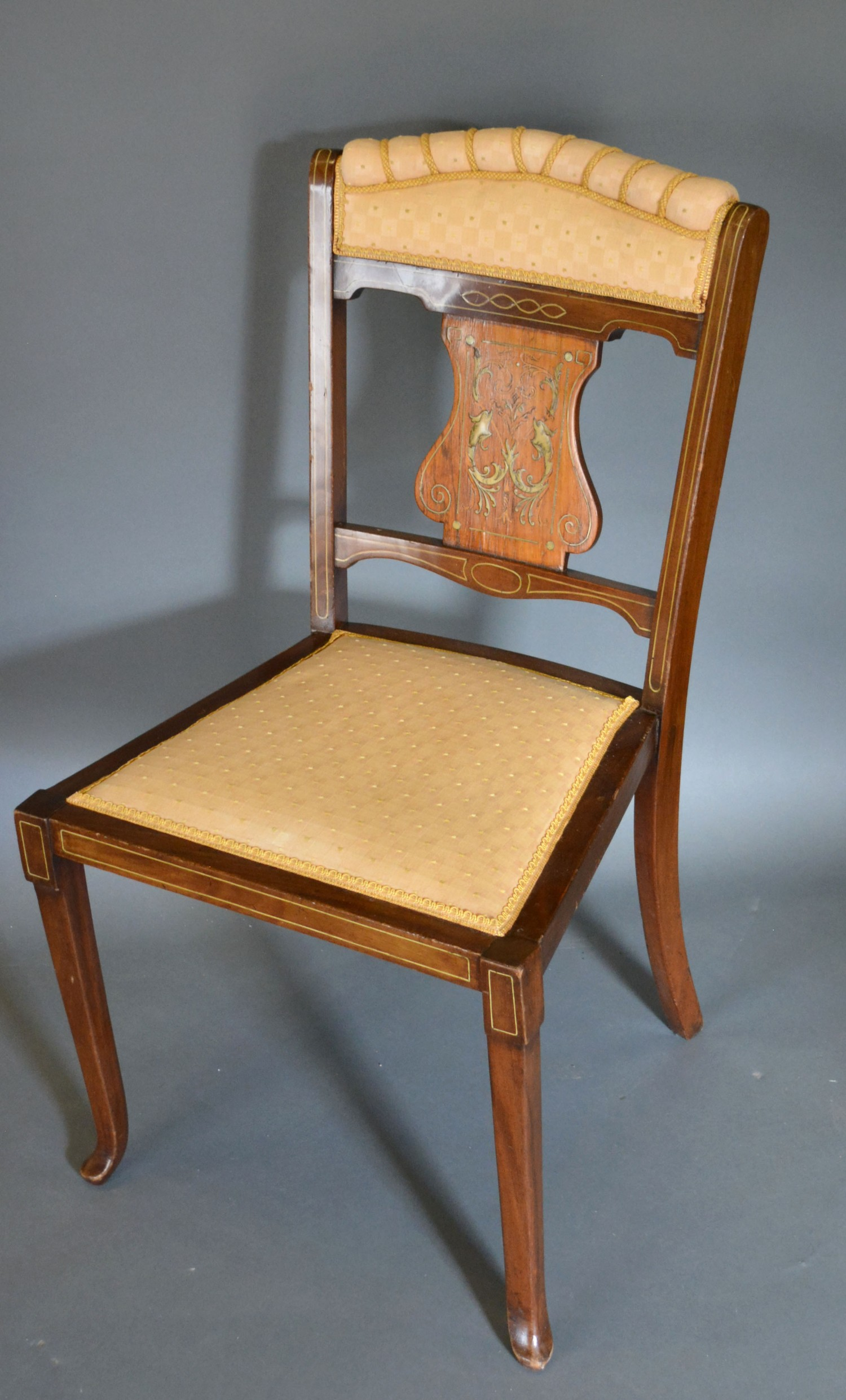 An Edwardian Mahogany Marquetry Inlaid Side Chair with cabriole legs and pad feet