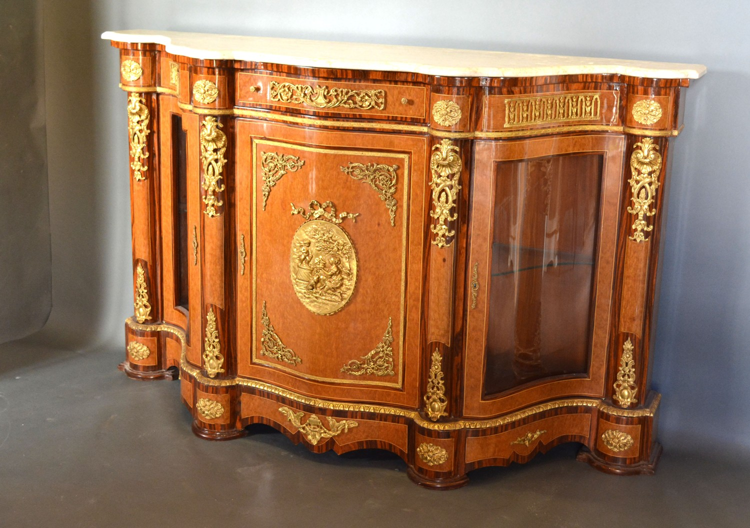 A French style walnut, gilt metal mounted serpentine Credenza cabinet, the variegated marble top - Image 2 of 3