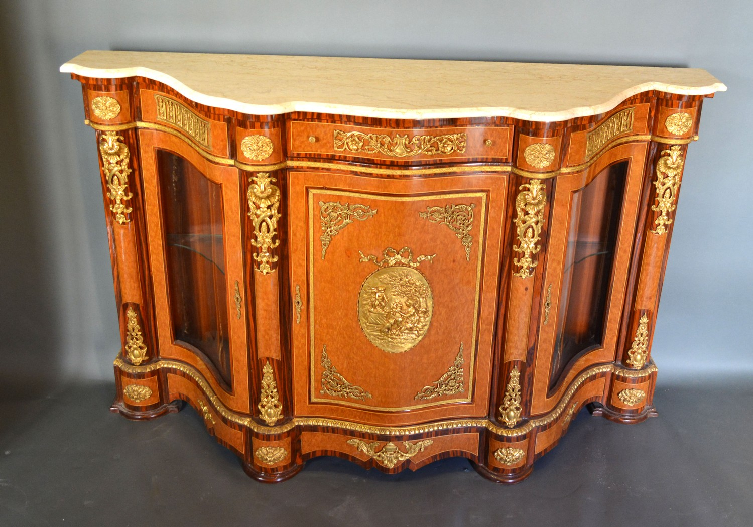 A French style walnut, gilt metal mounted serpentine Credenza cabinet, the variegated marble top - Image 3 of 3