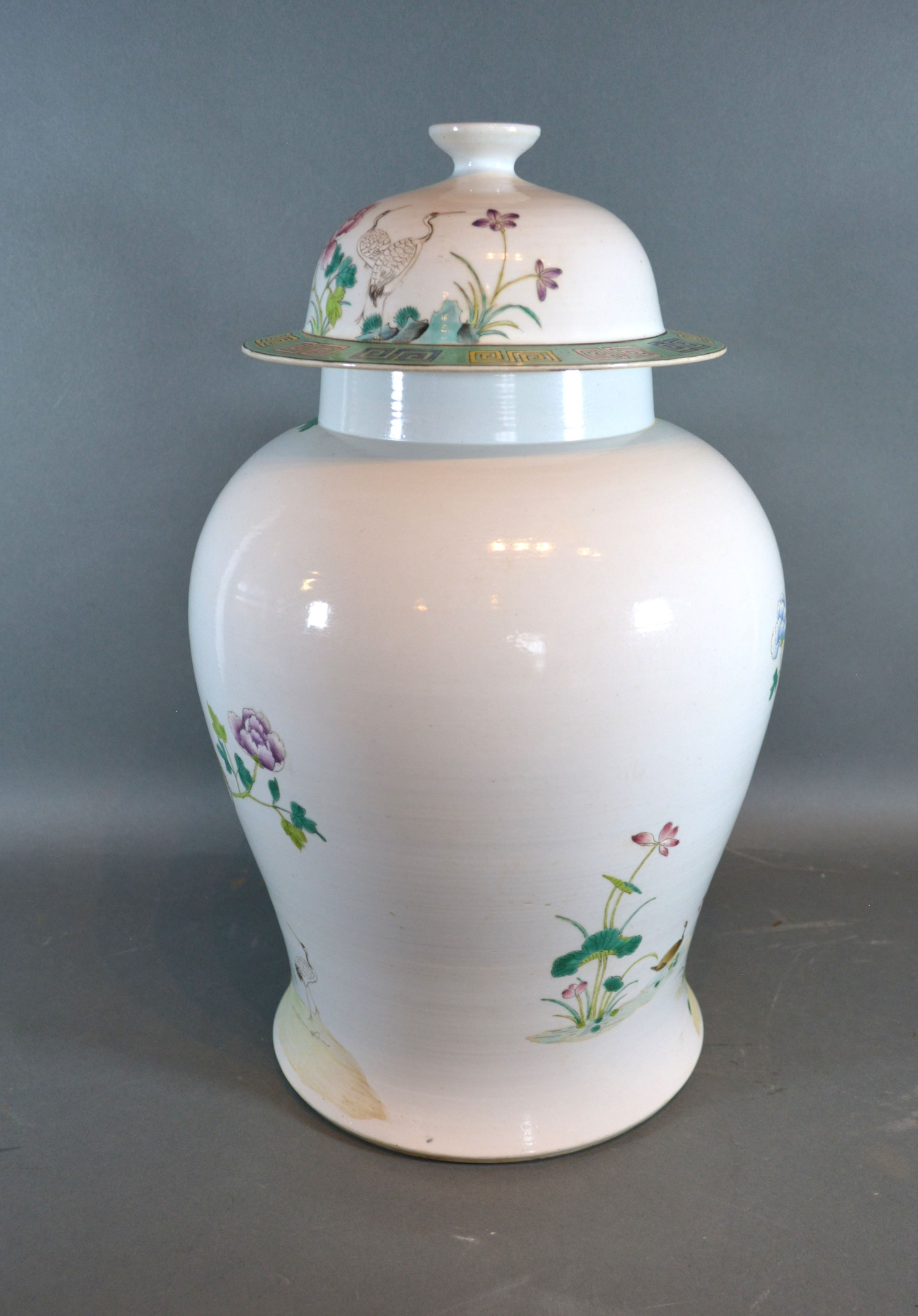A Chinese Canton covered vase, 102cms high, six character mark to base - Image 3 of 3