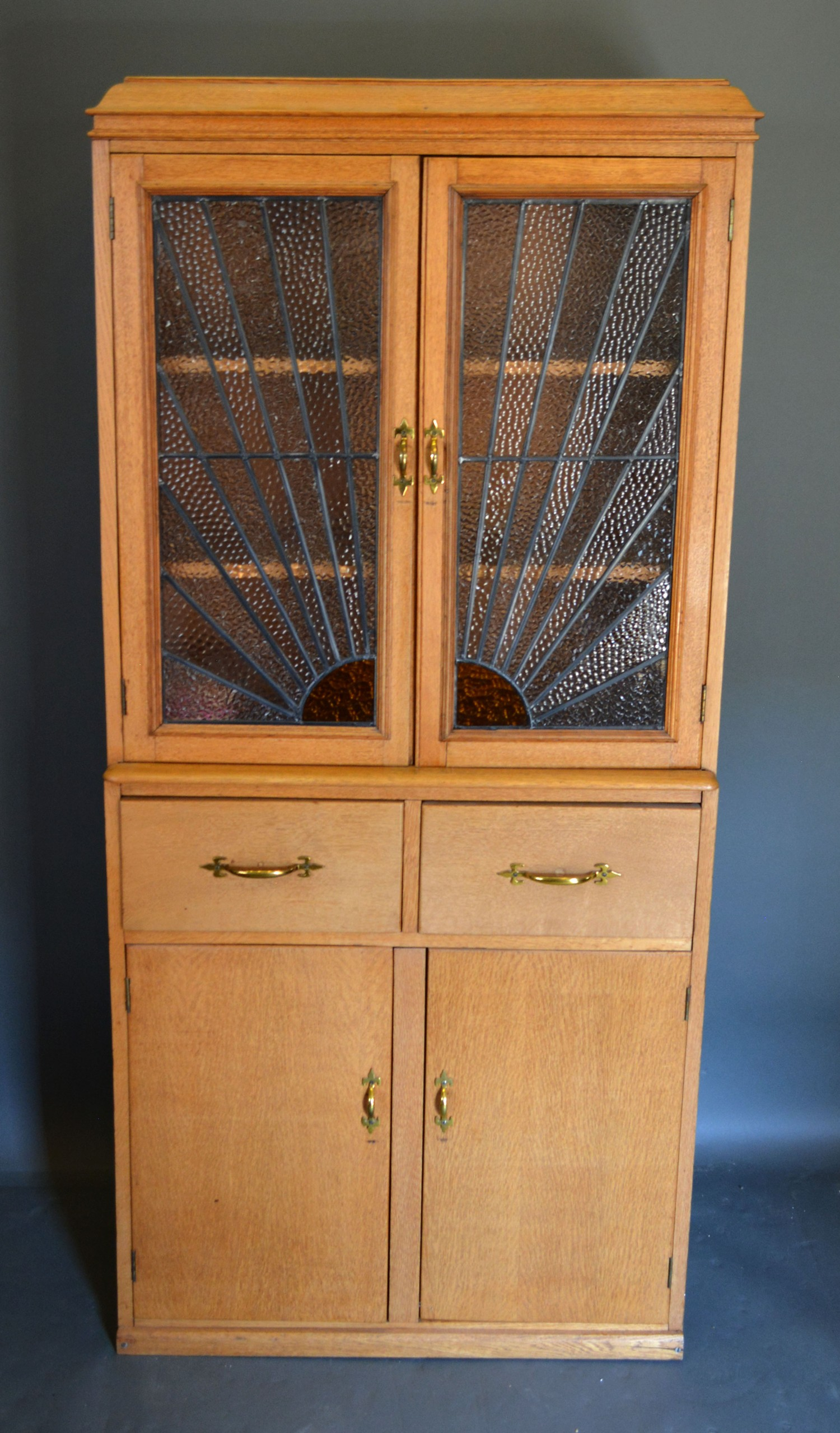 An early 20th century side cabin with two sunburst stained glass doors, the lower section with two - Image 2 of 2
