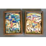 A Pair of 19th Century Persian Majolica Tiles in the form of Bowmen on Horses, 22 x 16 cms