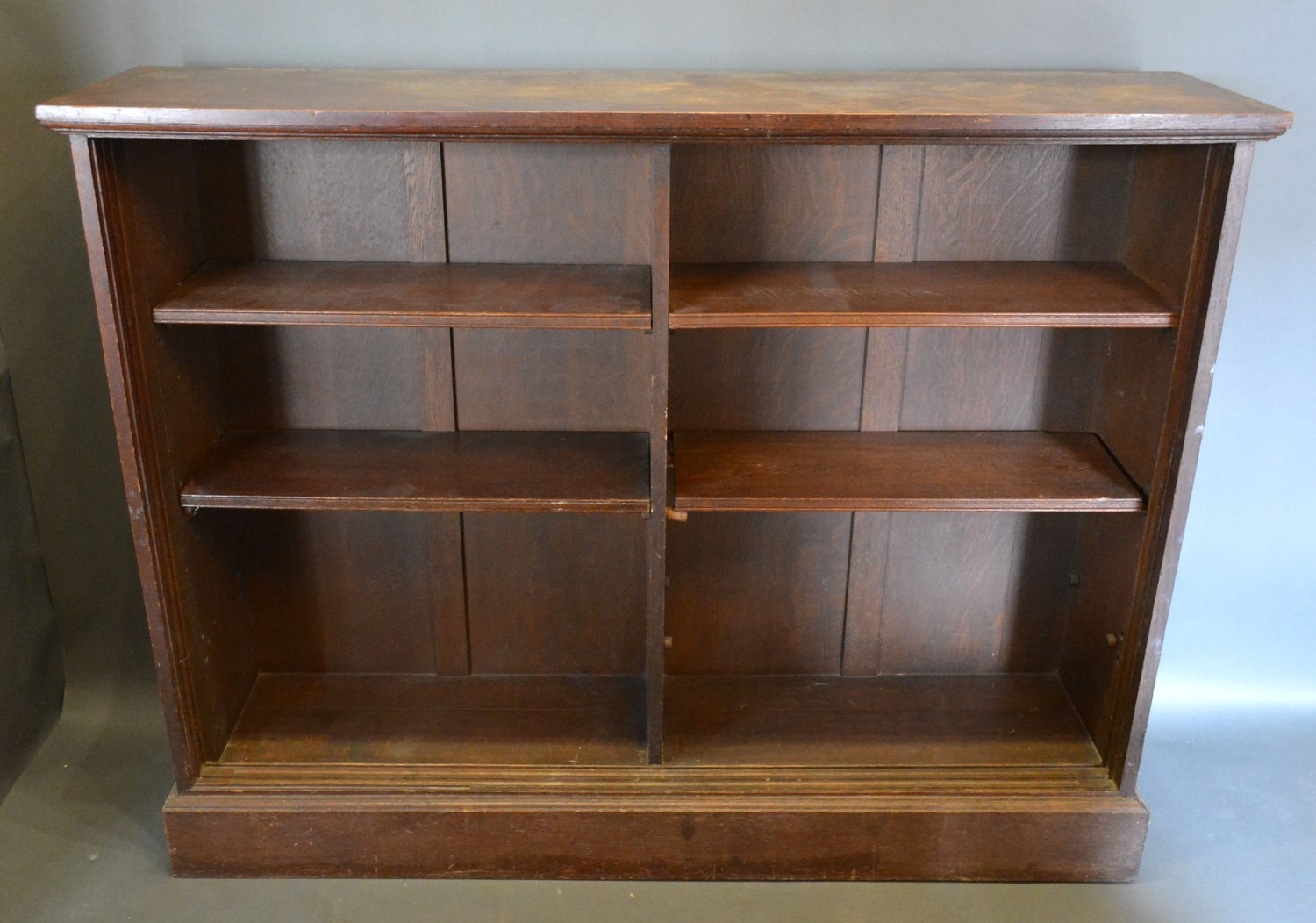 An early 20th century oak large dwarf bookcase, 215cms wide, 38cms deep, 123cms high, together - Image 2 of 2