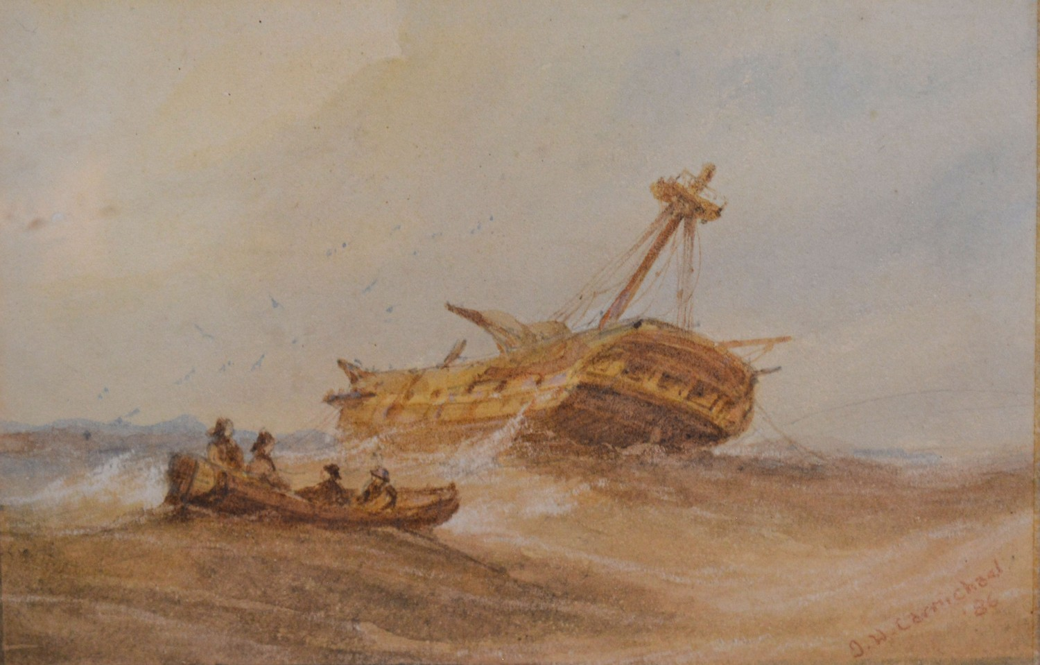 James Wilson Carmichael, ships in a rough sea and a ships hulk, a pair of watercolours, signed, - Image 3 of 4