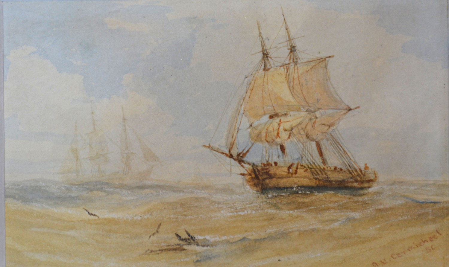 James Wilson Carmichael, ships in a rough sea and a ships hulk, a pair of watercolours, signed, - Image 2 of 4