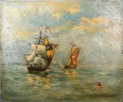 Indistinctly signed, sailing boats at sea, oil on board, 28cms X 38.5cms