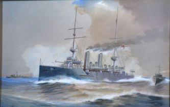 Harold Whitehead HMS Eclipse watercolour 18 x 28.5 cms