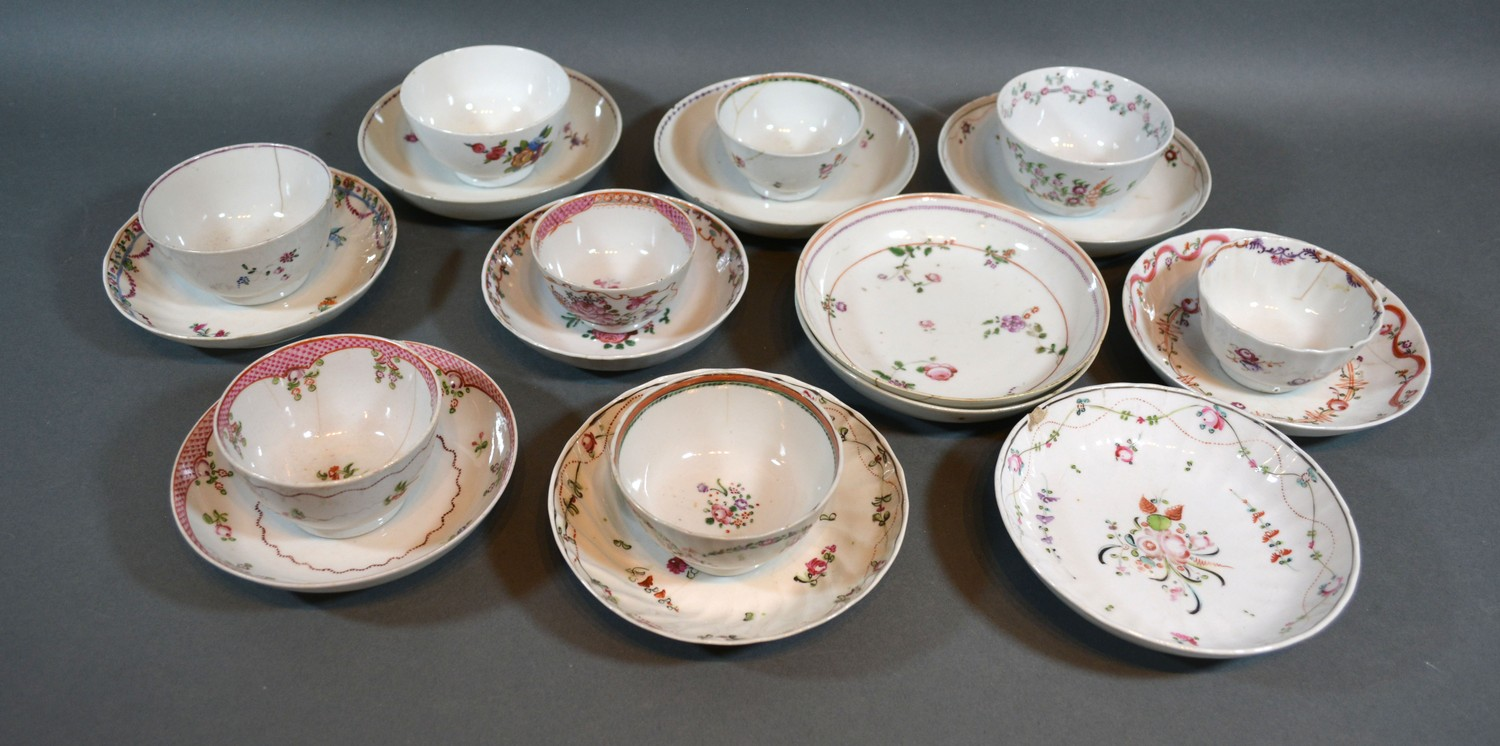 A Collection of 18th/19th Century English Porcelain Tea Bowls and Saucers to include Newhall