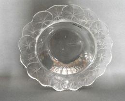 A Lalique Frosted Glass Honfleur Pattern Bowl, etched Lalique, France 27.5cm dia