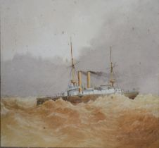 Charles William Fothergill HMS Undaunted watercolour, signed with monogram, 24.5 x 35.5 cms