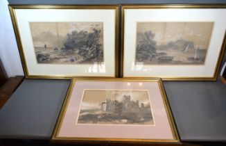 Matilda Jordan 'Coastal Scene with Boats' and another similar, a pair of monochrome watercolours