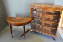 A 19th century mahogany Demi-lune card table together with an early 20th century walnut display