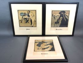 Sir William Nicholson A Group of Three Lithographs from The Almanac of Twelve Sports to include Golf