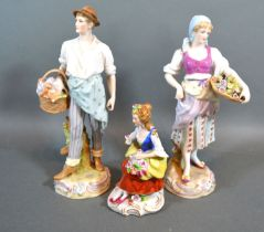 """A Pair of Late 19th century German porcelain figures """"The Flower Sellers"""" 22cm tall together with"""