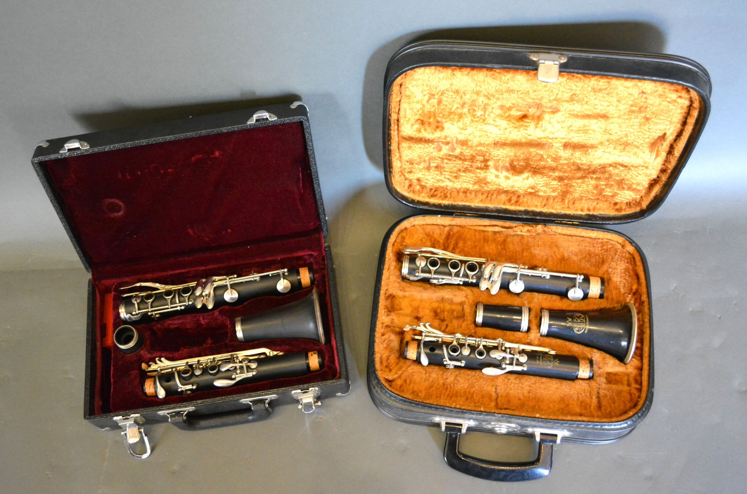 A clarinet by Fairfield in case together with another similar