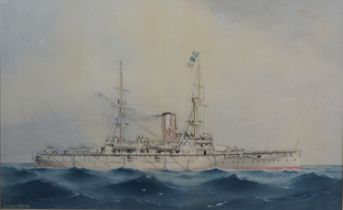 William MacKenzie Thomson Study of a Battleship at Sea watercolour, signed 30 x 48 cms