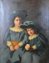 J. Proschwitzky, portrait of two young girls wearing blue dresses and bonnets with lace collars, oil