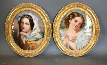 A Pair of Late 19th Early 20th Century Reverse Paintings on Glass depicting classical figures within