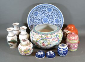 A Canton Porcelain Bowl together with other related ceramics