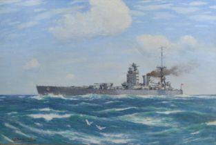 George Fagan Bradshaw HMS Nelson watercolour, signed, 33 x 51 cms