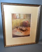 Gerry Ball, study of a violin upon a table within an interior, watercolour signed, 33cms x 25.5cms