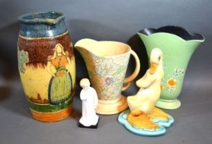 A Royal Doulton Figurine 'Darling' HN 1985 together with a Beswick Model of a Duck, two jugs and a