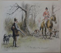 Charles Johnson Payne (Snaffles) The Odds on the Pheasant, watercolour on card, 25.5 x 38 cms