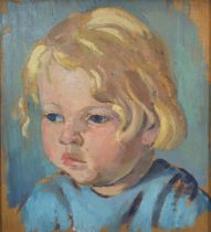 Attributed to Neville Lewis 'Portrait of a Young Boy' oil on board, unsigned, 23.5 x 21.5 cms