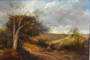 19th Century English School 'Rural Scene with Figure on a Track' oil on board 32 x 46 cms