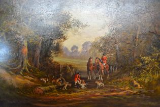 Ronald Horsewell Hunting Scene within a Rural Setting, oil on canvas, signed, 60 x 90 cms together