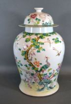 A Chinese Canton covered vase, 42cms high, six character mark to base
